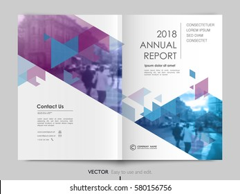 Cover design annual report,vector template brochure, flayer, presentation, leaflet, magazine. Purple and blue polygons on a white background
