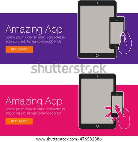 cover design app website template mobile stock vector royalty free