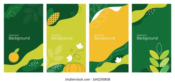 Cover design of autumn and agricultural themes with geometric colorful shapes, lines. Harvest abstract design. Set of trendy backgrounds, vector illustrations for banners, sale posters, journal, blank