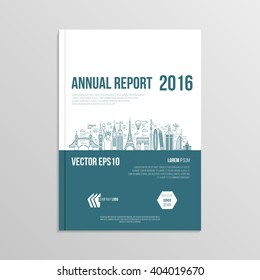 cover design for booklet annual report, brochure template layout, mock up a4 format magazine or book cover, with geometric background and thin line style famous world landmarks. vector illustration