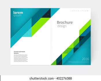 Cover design. Brochure, flyer, annual report cover template. a3 size. modern Geometric Abstract background. blue & green diagonal lines. vector-stock illustration EPS 10
