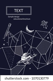 The cover design of the brochure on astronomy. Sample background for space theme. Geometrical composition. Background for covers, flyers, banners.