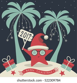 The cover design. Christmas on the island. Depicts two palm trees, a sea star in Santa Claus hat, garlands of snowflakes, presents on the sand , starfish and scarf with the words merry christmas.