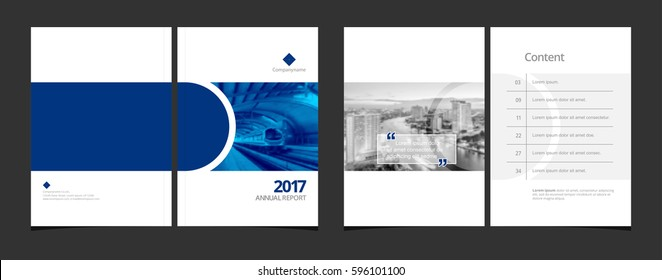 Cover design and content page layout template for corporate business annual report or catalog, magazine, flyer, booklet, brochure. A4 cover vector EPS-10 sample image with Gradient Mesh.