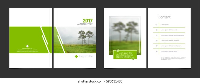 Cover design and content page template for corporate business annual report or catalog, magazine, flyer, booklet, brochure. A4 cover vector greenery concept EPS-10 sample image with Gradient Mesh.