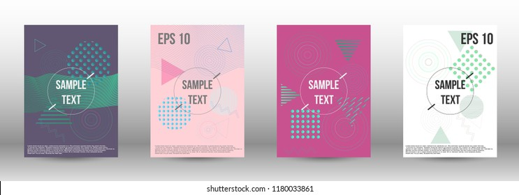Cover design. Creative fluid backgrounds with memphis elements to create a fashionable abstract cover, banner, poster, brochure. Vector illustration. EPS 10.