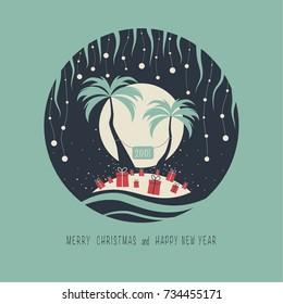 The cover design. Depicts two palm trees, ocean, presents on the sand, a garland of balls of snow and moon in the background. The phrase merry christmas and happy new year. The numbers 2,0,1,8