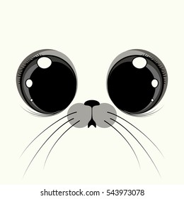 Cover design with the face of a seal with big eyes on the white background.