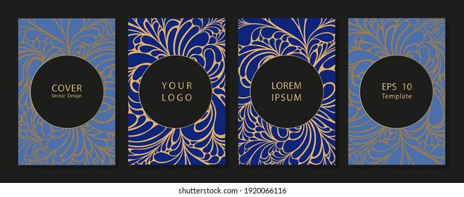 Cover design with floral pattern. Creative modern bright concept circle round shape Colorful artistic background with blossom.