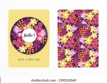 Cover design with floral pattern. Hand drawn creative flowers. Colorful artistic background with blossom. It can be used for invitation, card, cover book, notebook. Size A4. Vector illustration, eps10
