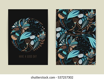 Cover design with floral pattern. Hand drawn creative flower. Colorful artistic background with blossom. It can be used for invitation, card, cover book, catalog. Size A4. Vector illustration, eps10