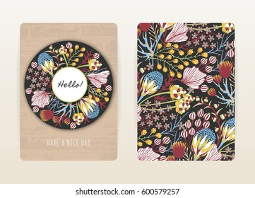 Cover design with floral pattern. Hand drawn creative flowers. Colorful artistic background with blossom. It can be used for invitation, card, cover book, catalog. Size A4. Vector illustration, eps10