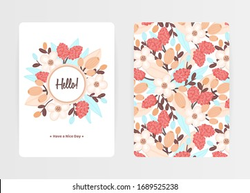 Cover design with floral pattern and round frame. Hand drawn flowers. Colorful artistic background with blossom. Invitation, greeting card, cover book, notebook. Size A4. Vector illustration, eps10