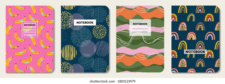 Cover design with fruit, line, circle, rainbow pattern. Hand drawn creative flowers. Colorful artistic background. It can be used for invitation, card, cover book, notebook. Vector illustration
