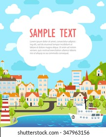 Cover Design. Funny Poster with Sea View Cartoon City. Funny Cityscape Background. Modern Illustration in Flat Style. Sample Text on the Clouds