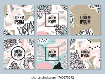 Cover design with geometric set elements. Retro style pattern. Modern fashion design poster. Memphis style cards. Vector Illustration.