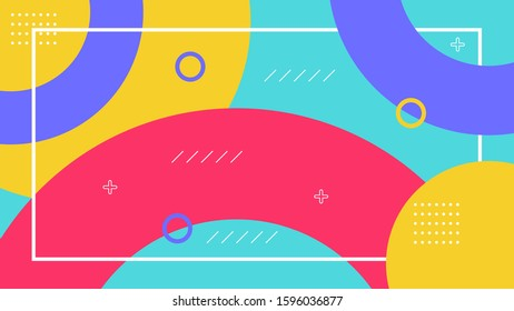 Cover design with memphis style. background of geometric shapes. minimal pattern.   Vector template