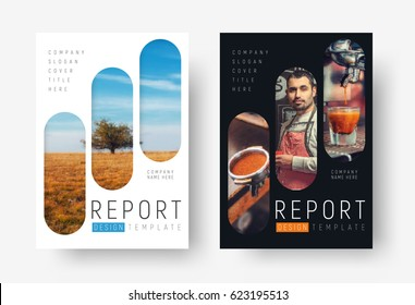 Cover design in a minimalistic style with rectangles with rounded corners. Flyer template, brochures for advertising and printing. Universal subjects of business, food, sports. photo mosaic