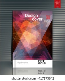 Cover design. The modern concept of cover design in the polygonal style. Photorealistic vector image covers for books, notebooks, annual report. The optimum combination of graphics, text & free space
