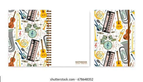 Cover design for notebooks or scrapbooks with musical instruments. Vector illustration.