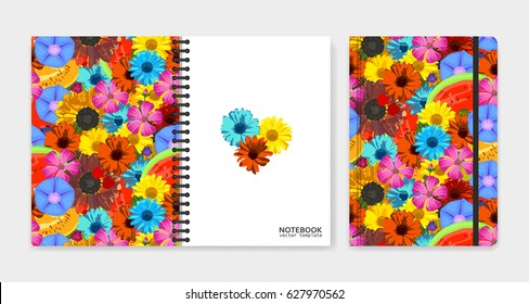Cover design for notebooks or scrapbooks with realistic bright flowers and fruits. Vector illustration.