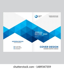 Cover design for presentations and advertising, creative layout of booklet cover, catalog, flyer, fashionable blue background for text and photo