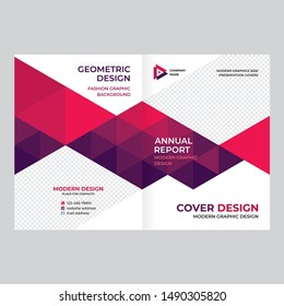 Cover design for presentations and advertising, creative layout of booklet cover, catalog, flyer, fashionable red background for text and photo