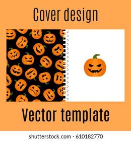Cover design for print with pumpkin autumn harvest pattern. Vector illustration