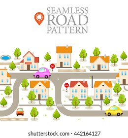 Cover Design. Seamless Pattern with Endless Road. Funny City Background. Modern Vector Illustration in Flat Style