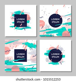 Cover design set. Creative concept abstract geometric design, memphis colorful background. Applicable for placards, brochures, posters, covers and banners.