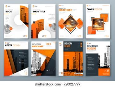 Cover Design Set. Orange Corporate Business Template For Brochure, Report,  Catalog, Magazine