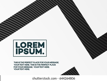 Cover design template with abstract lines black color gradient style on white background for poster, presentation, brochure, catalog, flyer, book, magazine etc. Vector Illustration