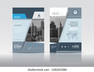 Cover Design template, annual report cover, flyer, presentation, brochure. Front page design layout template with bleed in A4 size. Gray blue colors with abstract background templates.