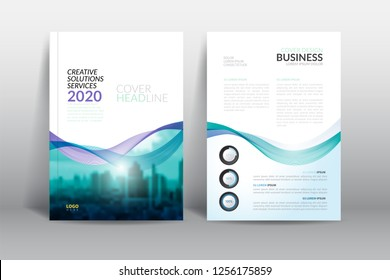 Cover Design template, annual report cover, flyer, presentation, brochure. Front page design layout template with bleed in A4 size. green blue colors with abstract background templates.