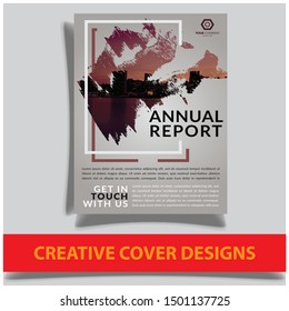 Cover design template for annual report. Abstract modern vector illustration. Cover presentation on a4. Abstract presentation templates. Flyer text font. Ad flyer text. White a4 brochure cover design