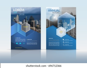 Cover Design template, annual report cover, flyer, presentation, brochure. Front page design layout template with bleed in A4 size. Blue grey colors with hexagon shape vectors background templates.