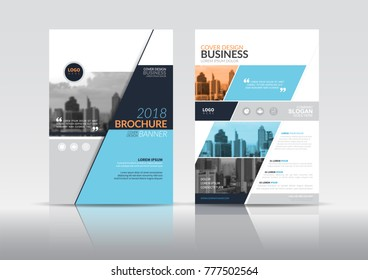 Cover Design template, annual report cover, flyer, presentation, brochure. Front page design layout template with bleed in A4 size. Orange grey blue colors with abstract background templates.