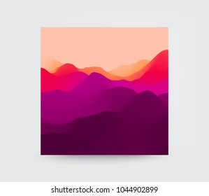 Cover design template. Mountain landscape. Mountainous terrain. Vector illustration. Abstract background.