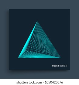 Cover design template. Pyramid. Molecular grid. 3d technology style. Vector illustration. Futuristic connection structure for chemistry and science.