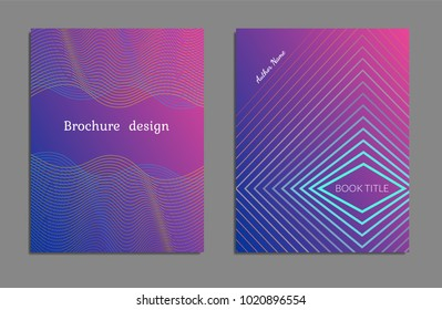 Cover design template set with abstract lines modern different color gradient style on background for decoration presentation, brochure, catalog, poster, book, magazine etc. Vector Illustration.