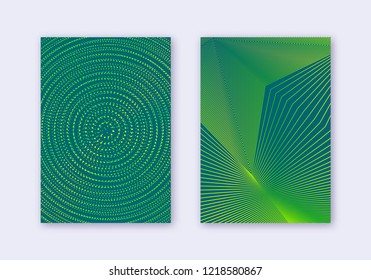 Cover design template set. Abstract lines modern brochure layout. Green vibrant halftone gradients on dark background. Favorable brochure, catalog, poster, book etc.