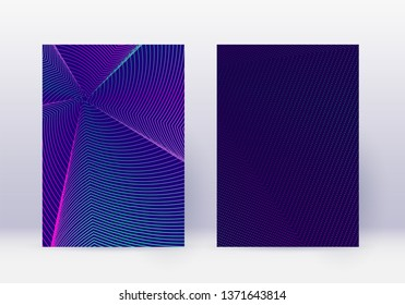 Cover design template set. Abstract lines modern brochure layout. Neon vibrant halftone gradients on dark blue background. Uncommon brochure, catalog, poster, book etc.