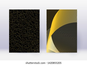 Cover design template set. Abstract lines modern brochure layout. Gold vibrant halftone gradients on black background. Uncommon brochure, catalog, poster, book etc.