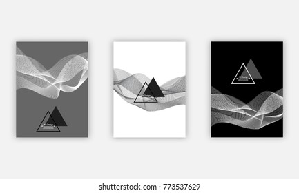 Cover design template set, vector illustration. Black and white monochrome colors, flowing lines, minimalistic graphic brochures set. Geometric shapes for branding identity, reports, business.