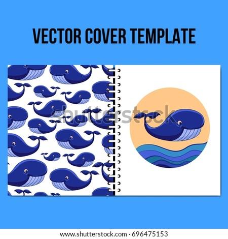 cover design template vector underwater animal stock vector royalty