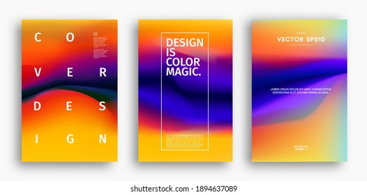 Cover design template with yellow red orange blue purple gradient. Wave vector illustration. Gradient mesh poster abstract background. Fluid banner design.
