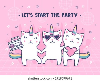 Cover design with unicorn cats. Cute dancing baby caticorns with rainbow tails vector illustrations with text on pink backgrounds. Party and fun concept for poster, website or webpage background