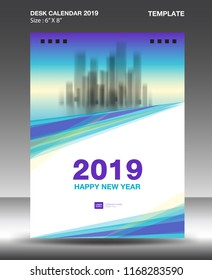 Cover Desk Calendar 2019 Design template, flyer template, ads, booklet, catalog, newsletter, book layout, printing media, advertisement, Brochure, Blue purple background