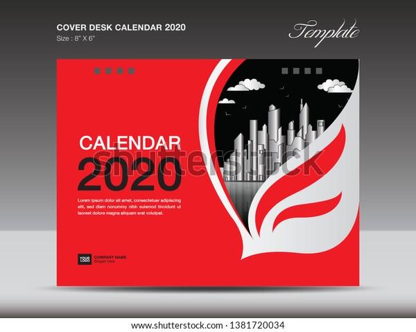 Cover Desk Calendar 2020 Design Flyer Stock Vector (Royalty