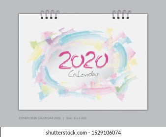 Cover Desk Calendar 2020 template vector, 8 x 6 inch size, book cover design, brochure, flyer, vector eps10, colorful watercolor background
